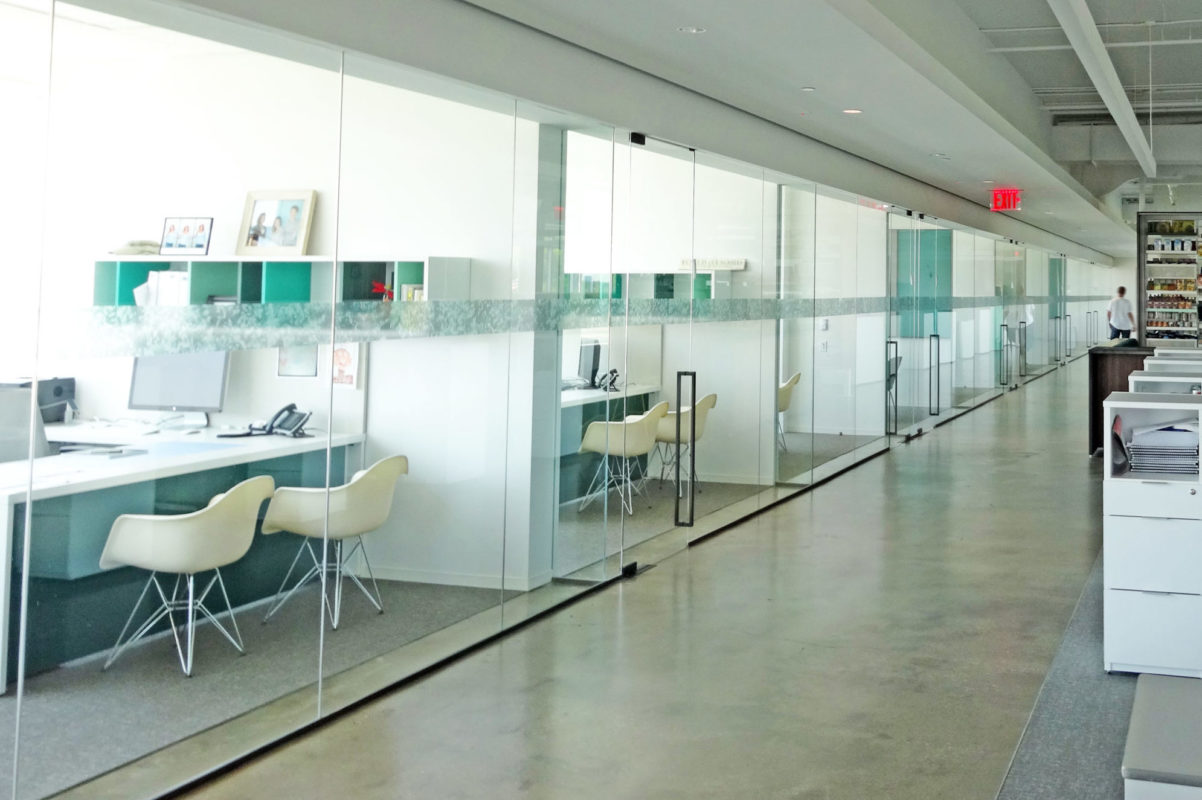 All Glass Office Fronts With Custom Handles.