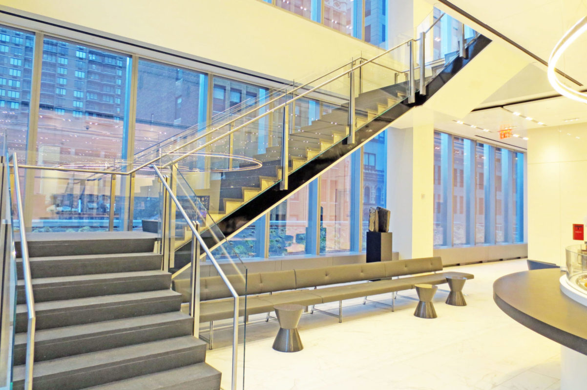 Custom Tapered Stainless Steel Post Guard Rail System.