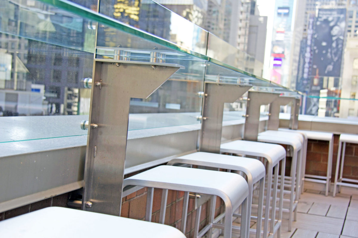 Custom Designed Stainless Steel + Glass Drink Rail Overlooking Times Square.