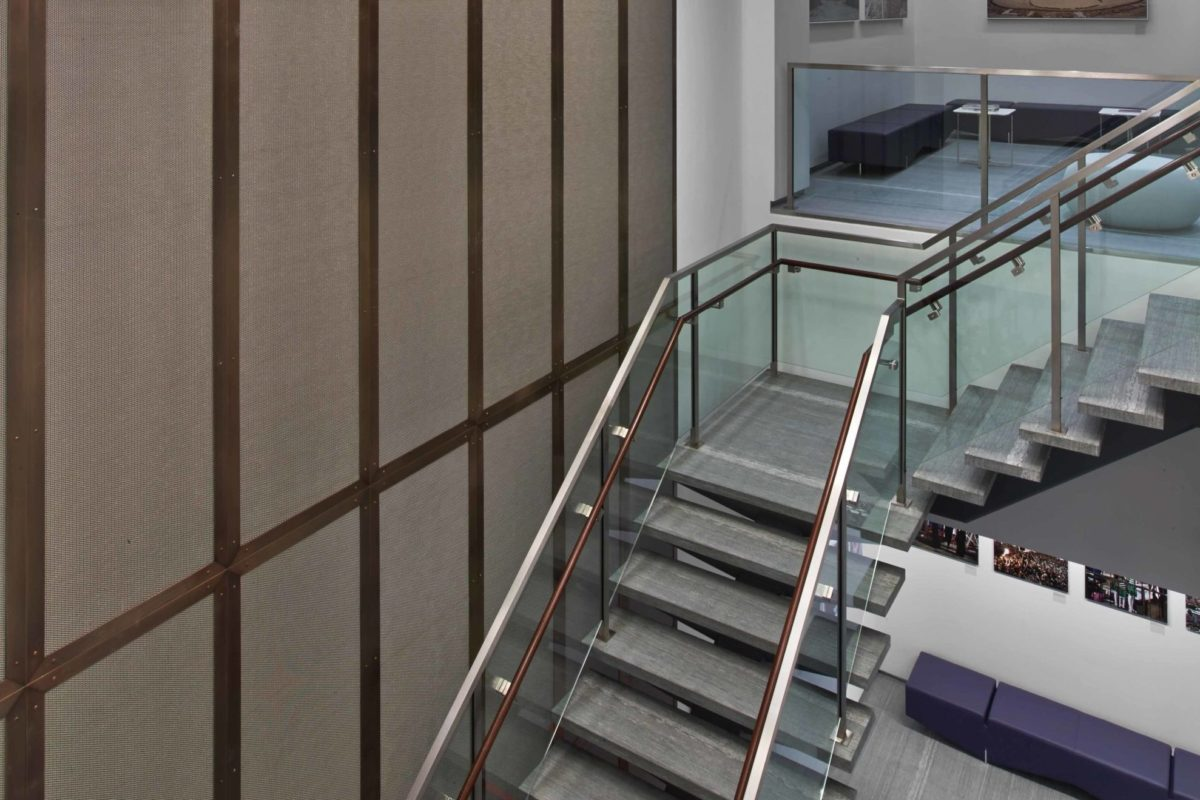 Custom Stainless Steel + Glass Staircase + Bronze Framed Architectural Stainless Steel Mesh.