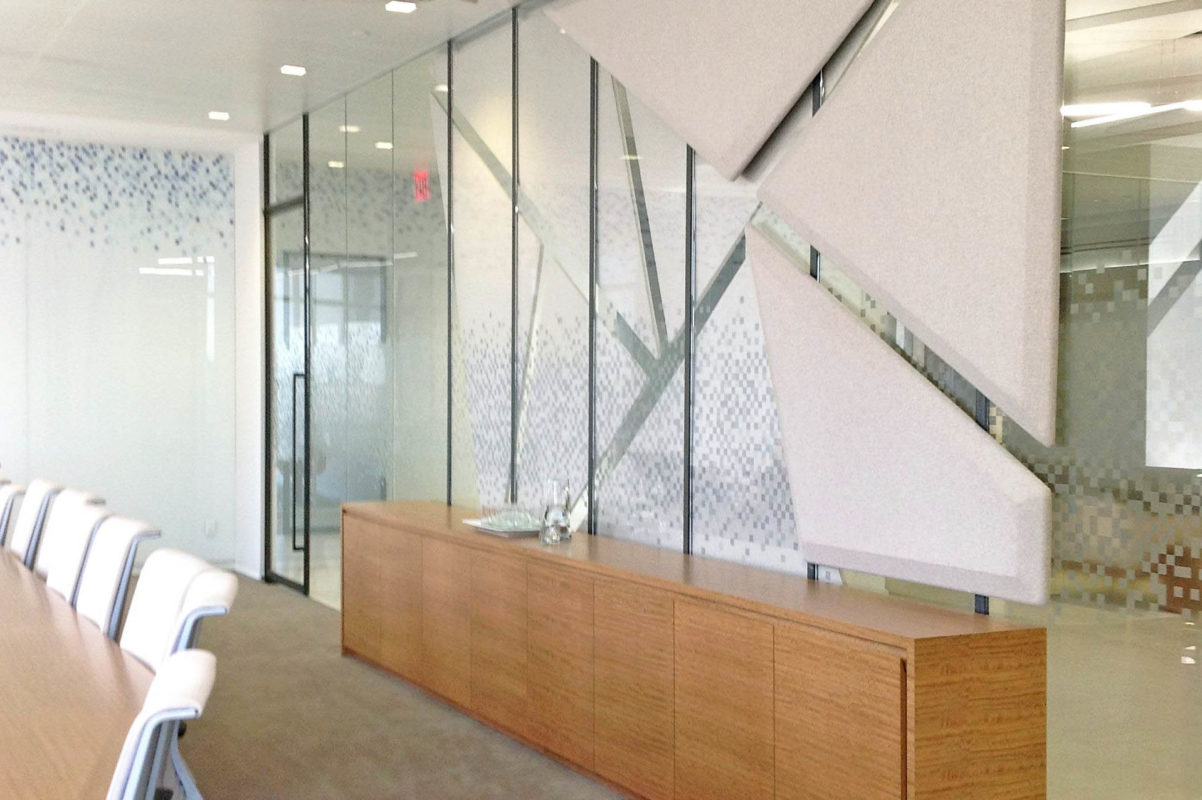 Custom Steel + Glass Conference Room With Custom Film.