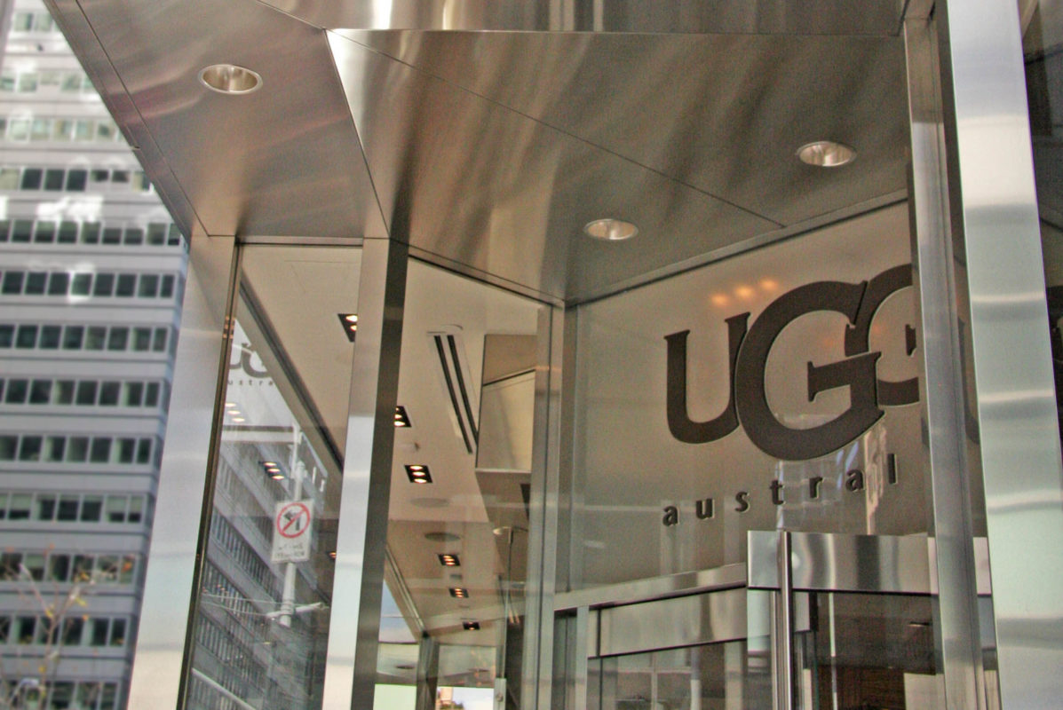 Custom Entrance + Stainless Steel Cladding At UGG Store.