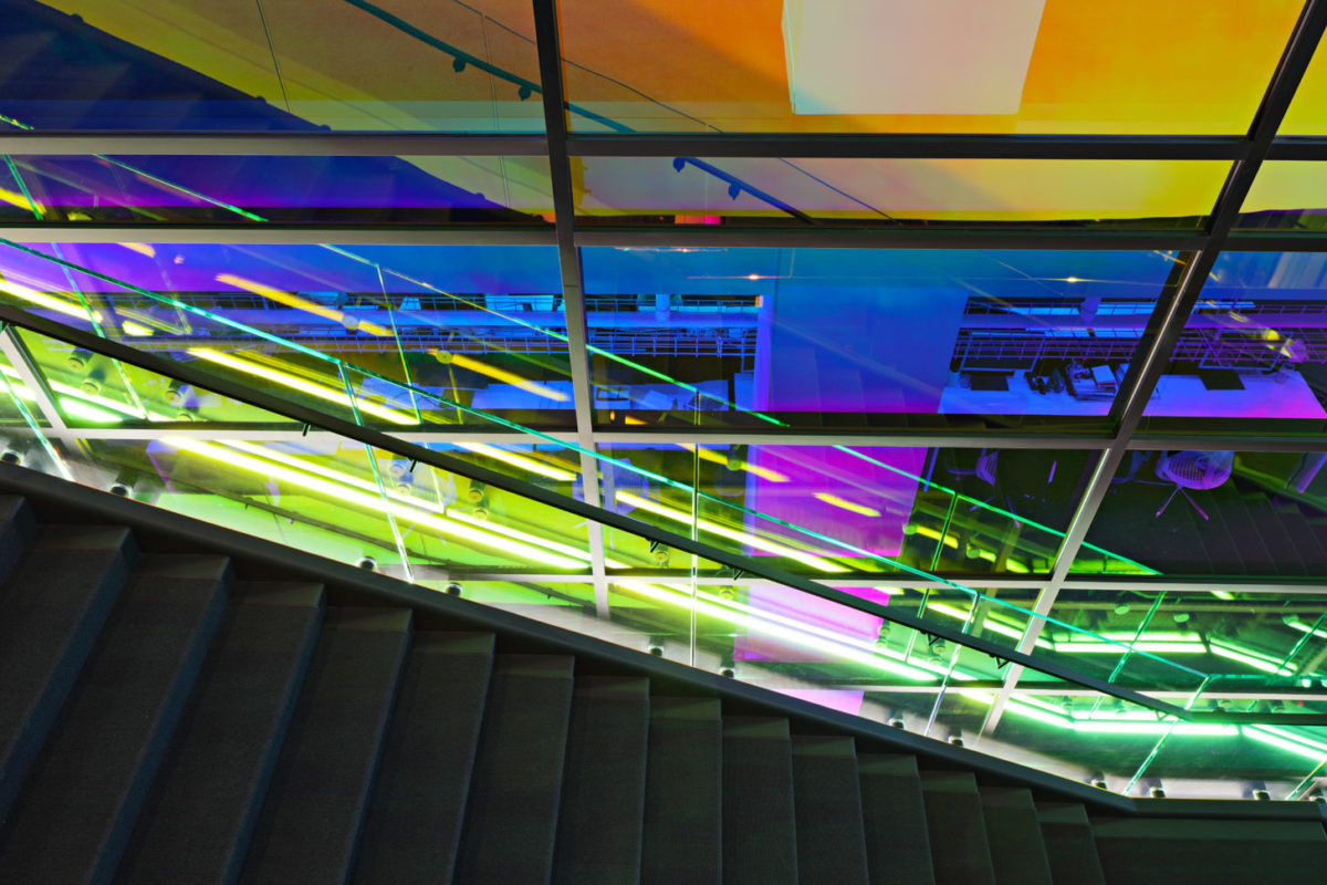 Interior Glass Curtain Wall With Dichroic Film.