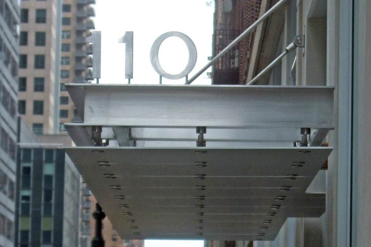 Custom Fabricated Stainless Steel Channel Canopy With Anodized Aluminum Panels.Grand Park – 110 East 40th Street – New York, NY  Architects: PBDW Architects