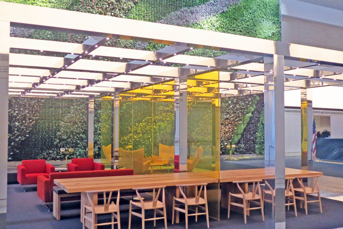 Custom Extruded Aluminum Pergola In Mirror Finish.BNY Mellon – 1 Wall Street – New York, NYArchitect: Gensler