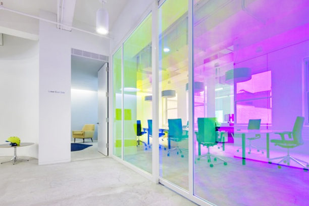 Custom Sliding Glass Door Office Fronts With Dichroic Film.Red Bull North America – 218 West 18th Street, New York, NY Architect: SLAB Architecture PLLC
