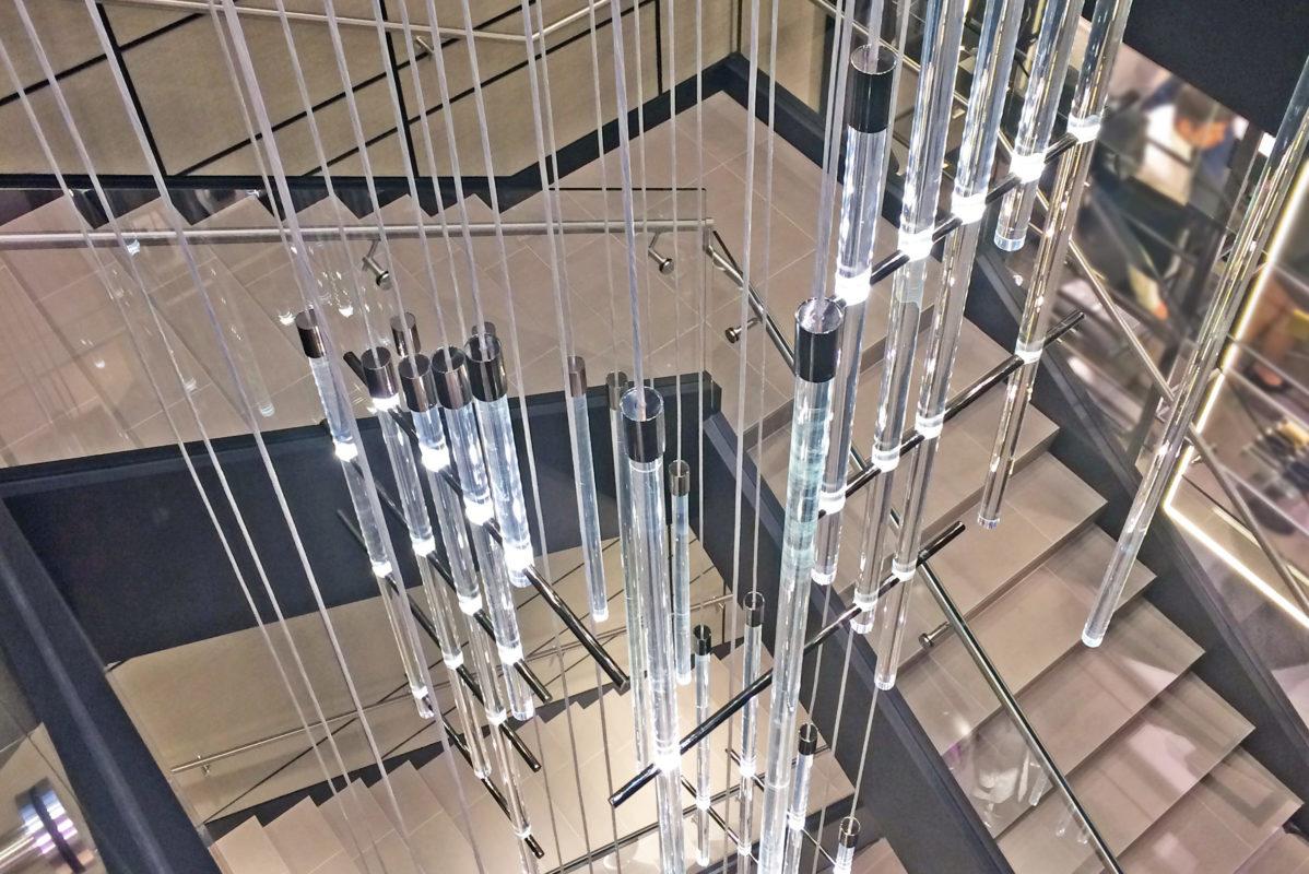 Glass Guardrail With Blackened Steel Cladding At Stringer.HUGO Boss – 10 Columbus Circle – New York, NYArchitect: Design Republic