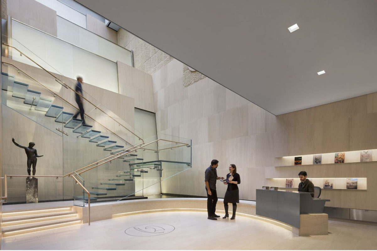 Mistral Was Chosen By The Onassis Cultural Center At 645 5th Avenue To Design + Build All Glass Cantilevered Staircase With Glass Treads As Well As Cast-glass Waterfall Feature.