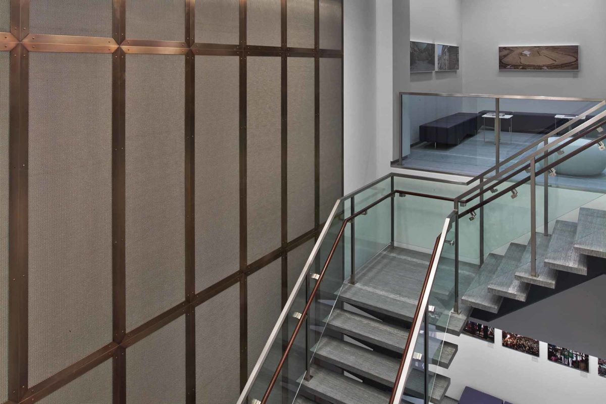 Custom Stainless Steel + Glass Staircase And Bronze Framed Architectural Stainless Steel Mesh.Open Society Institute – 224 West 57th Street – New York, NYHLW International, LLP