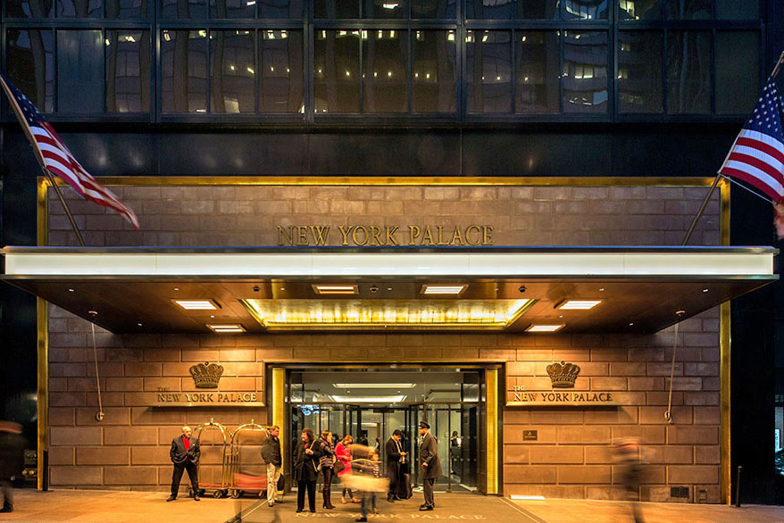 Mistral Fabricated Structural Steel Canopy + Bronze Cladding With Gold Leaf Cove, Custom Bronze Eyebrow At Entrance, Fluted Bronze Light Box, + Custom Entrance. NY Palace - 455 Madison Avenue – New York, NY Architect: BBG BBGM Architects