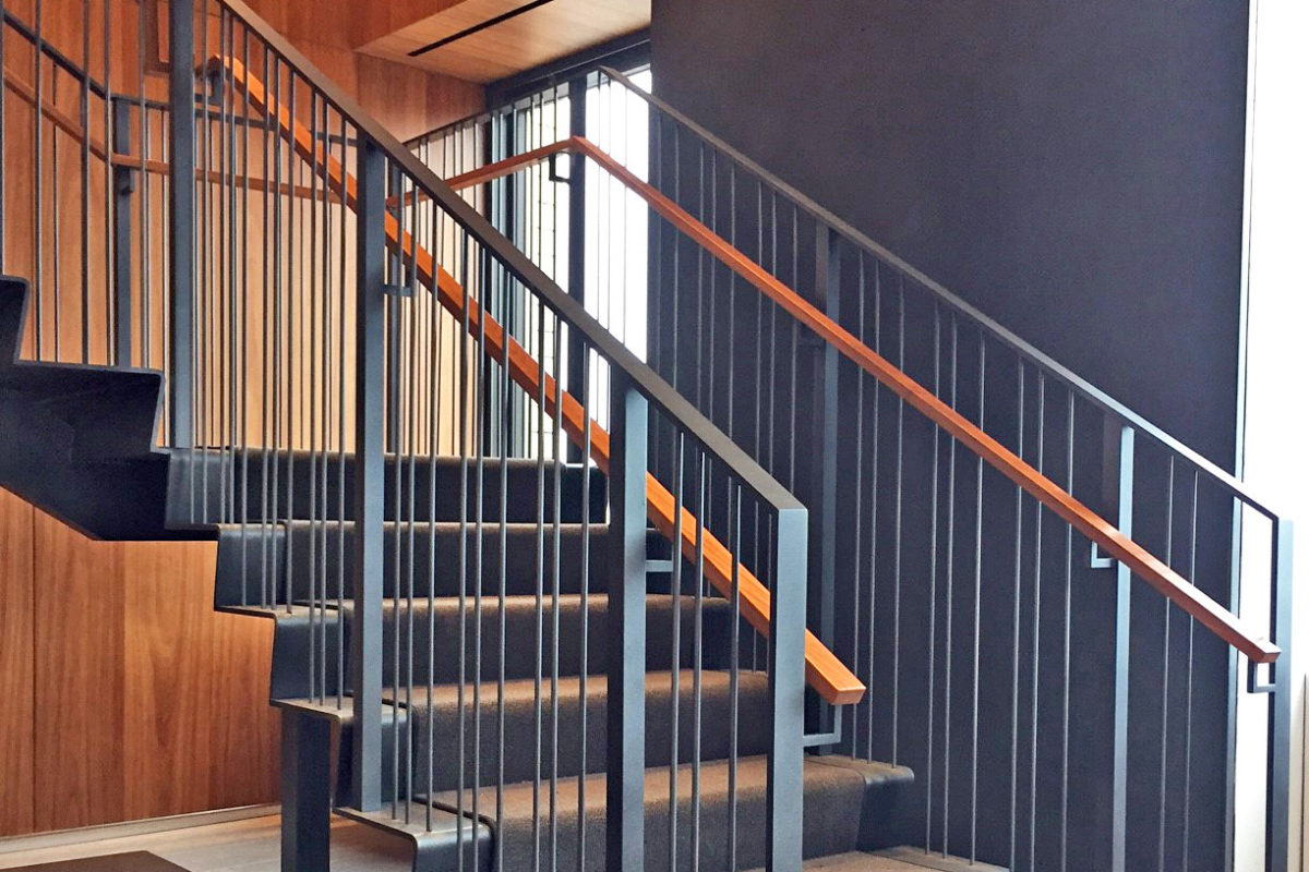 Bent Stringer + Riser With Steel Picket Guardrail.Rubenstein - One World Wide Plaza – 825 8th Avenue – New York, NY Architect: Gensler