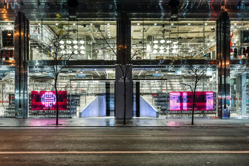 Custom Oversized Glass Storefront + Structural Glass Tunnel.Adidas Flagship - 565 5th Avenue – New York, NYArchitect: Gensler