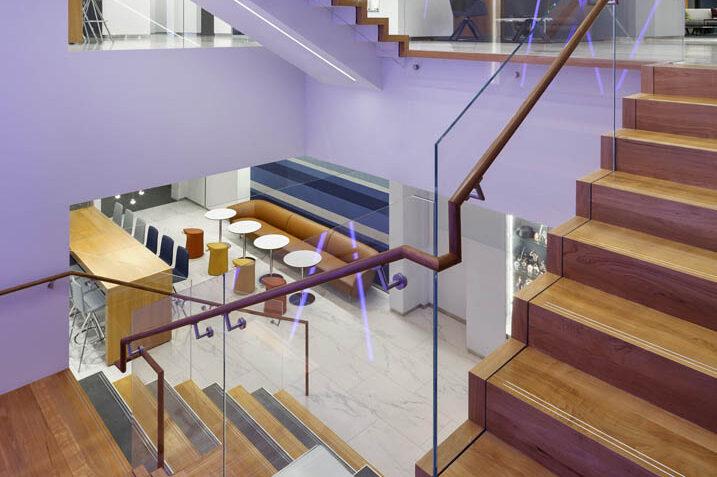 Custom Laminated Glass Guardrails + Handrail.AMC Networks 11 Penn Plaza - New York, NYArchitect:  The Switzer Group