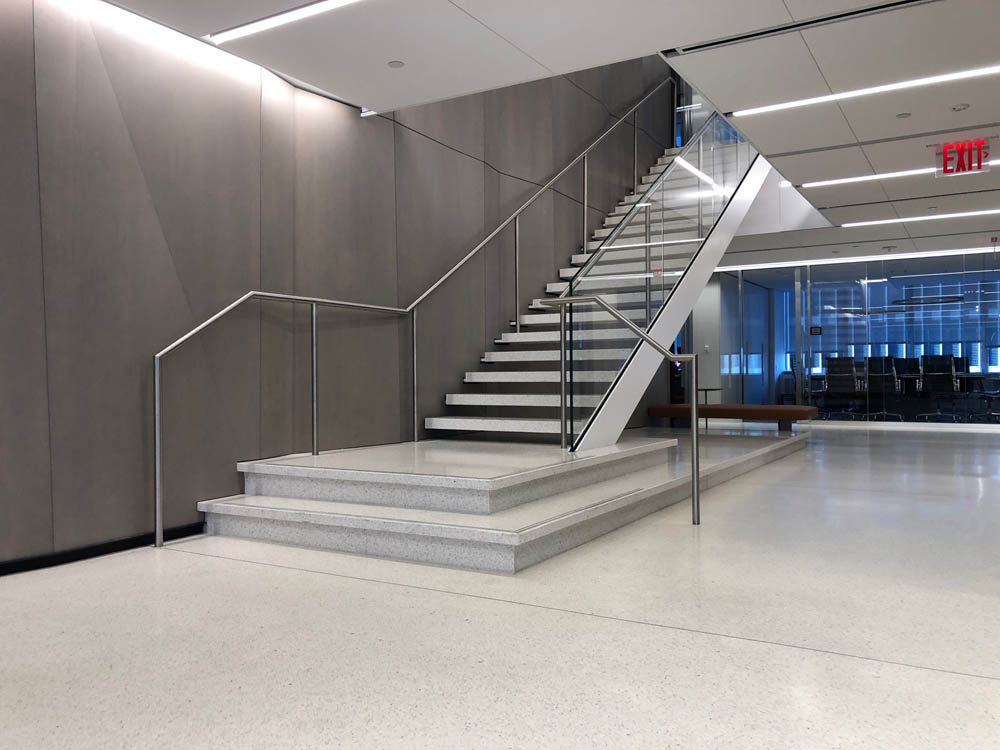 """Custom Laminated Glass Guardrails + Handrail.Arent Fox 1301 Avenue Of The Americas - New York, NYArchitect: STUDIOS Architecture """