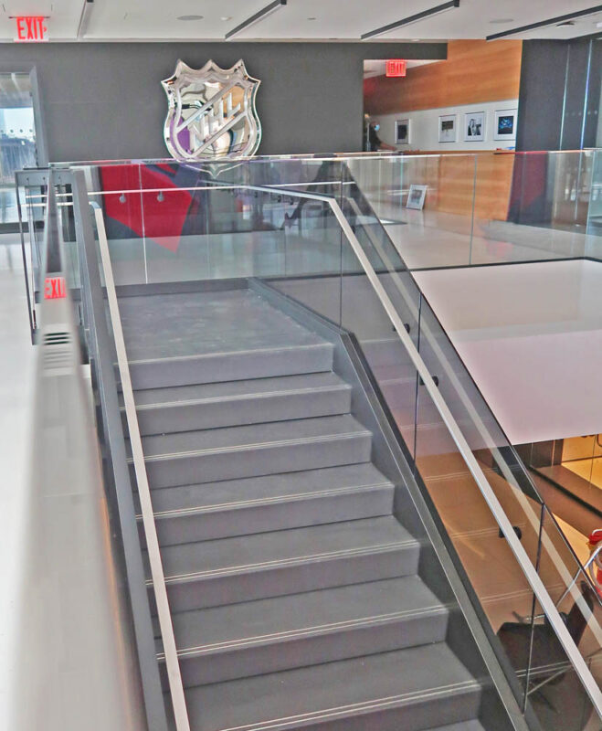"""Custom Laminated Glass Guardrails + Handrail.National Hockey League Manhattan West 401 9th Avenue - New York, NYArchitect: TPG Architecture, LLP"""