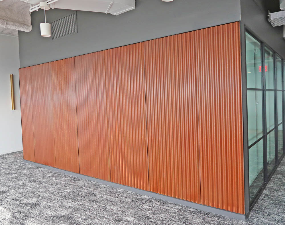 Corrugated Corten Steel Wall.