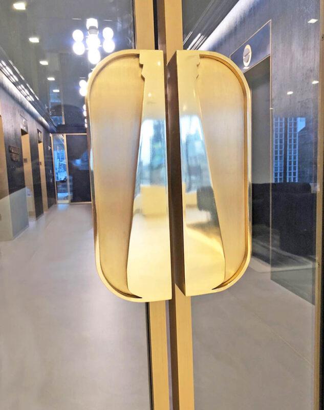 Custom Fabricated Bronze Handles.