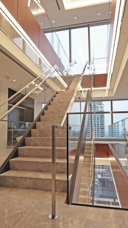 Custom Design-build Stair, Steel Stringer + Glass Guardrail.