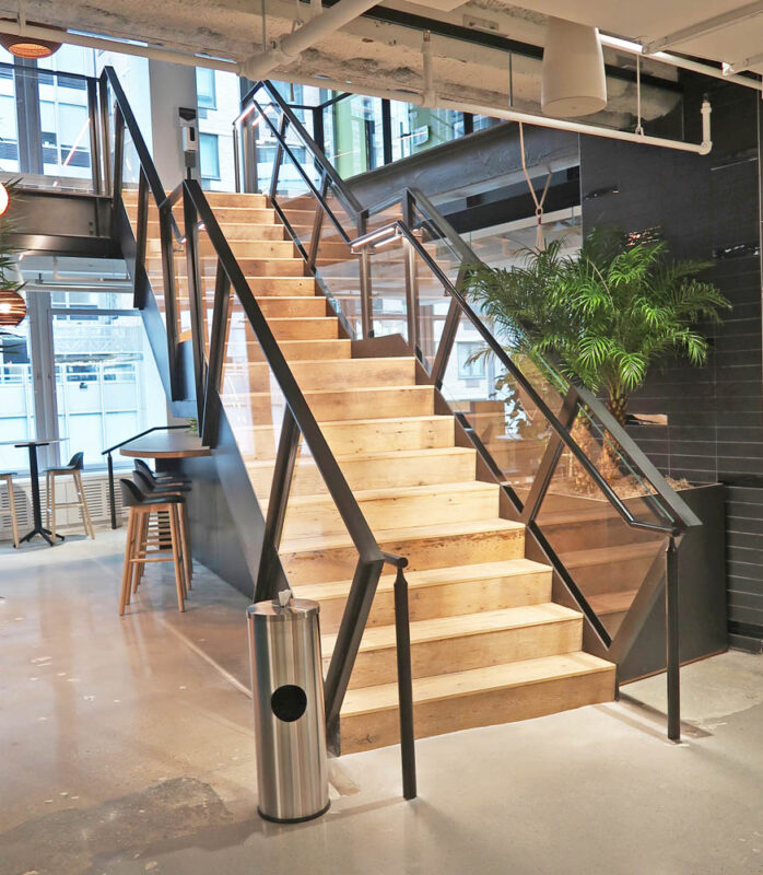 Blackened Steel + Glass Guardrails With Integrated Lighting.