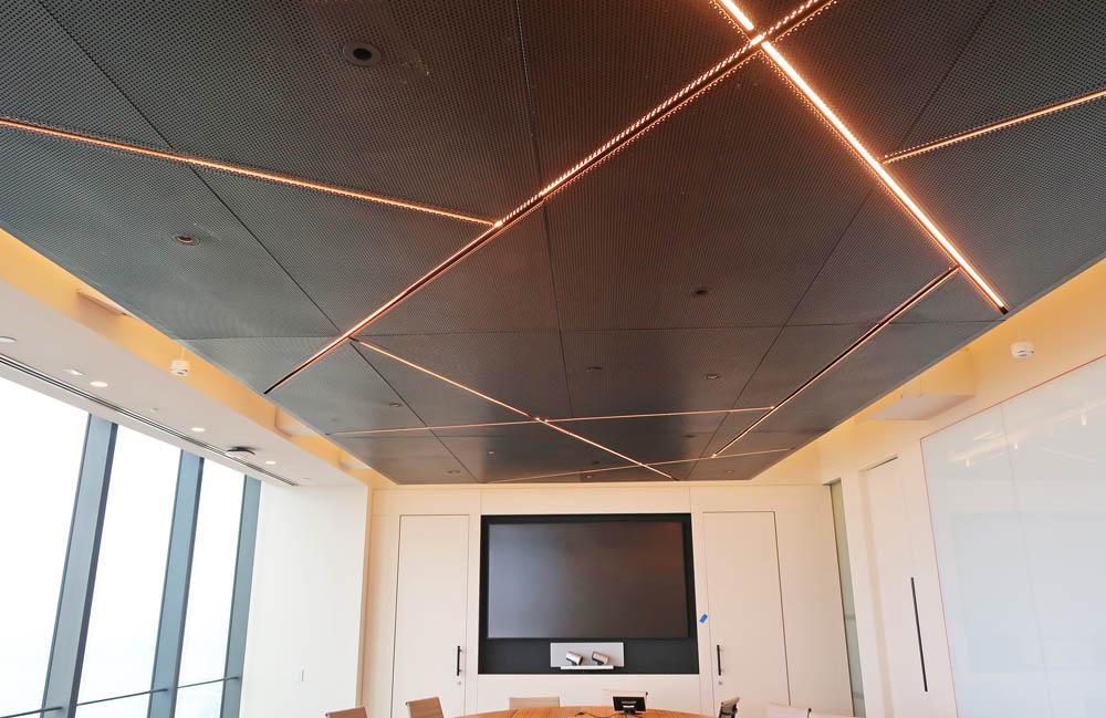 Custom Perforated Blackened Steel Ceiling.