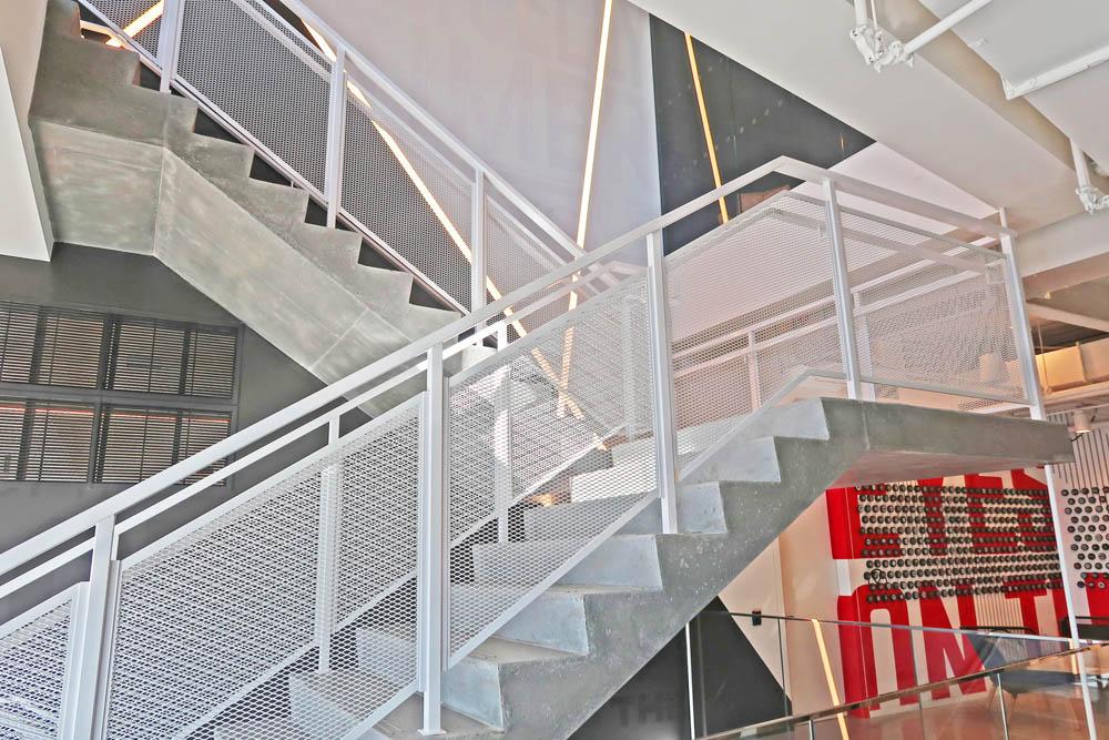 Custom Painted Steel Perforated Railing.